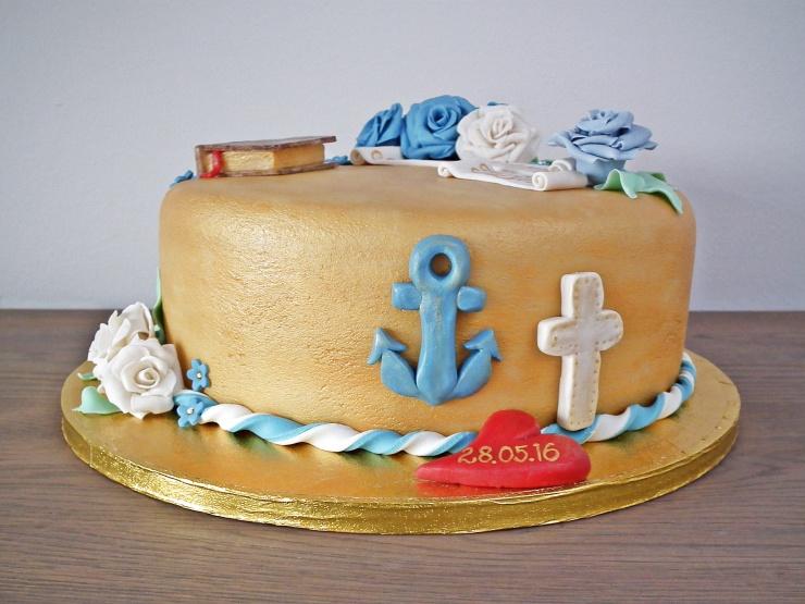 konfirmasjon_konfirmasjonskake_kake_marsipankake_marsipan_sjokolade_sjokoladekake_fondant_bibel_tro_håp_kjærlighet_marsipanroser_gull_gullkake_2